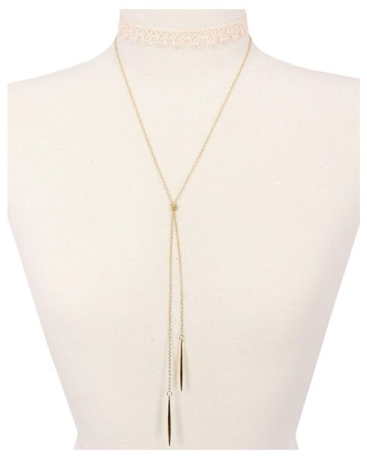 Sparkling Sage - Metallic 14k Plated Lace Choker Necklace - Lyst