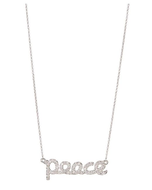 Adornia | Metallic Sterling Silver And Swarovski Crystal Cursive Peace Necklace | Lyst