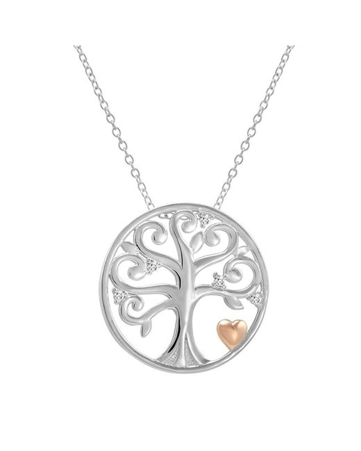Amanda Rose Collection - Metallic Sterling Silver Diamond Accented Tree Of Life Pendant-necklace - Lyst