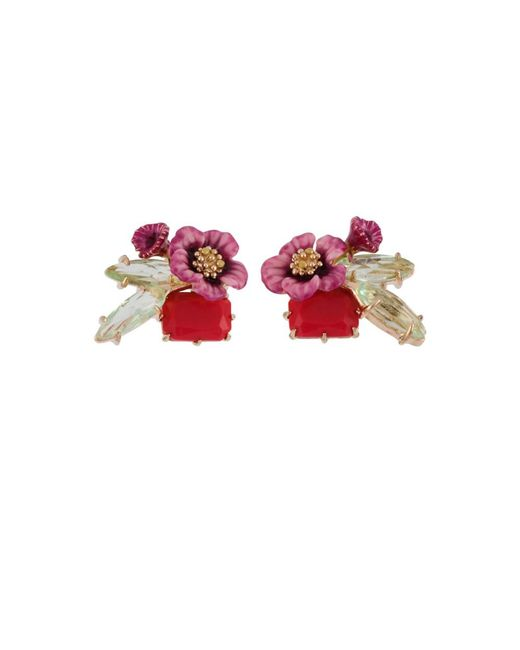 Les Nereides | Pink Dazzling Discretion Fuchsia Flower And Stones Clip Earrings | Lyst