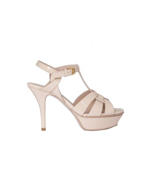 Saint Laurent - Women's Pink Leather Sandals - Lyst