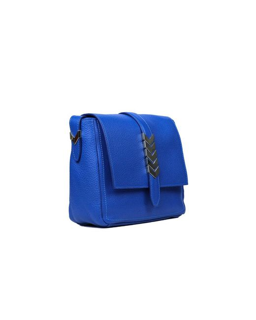 490b58e2 Versace Collection Solid Blue Grained Leather Arrow Shoulder Bag in ...