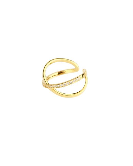 Saachi - Metallic Gold X Crystal Rings - Lyst
