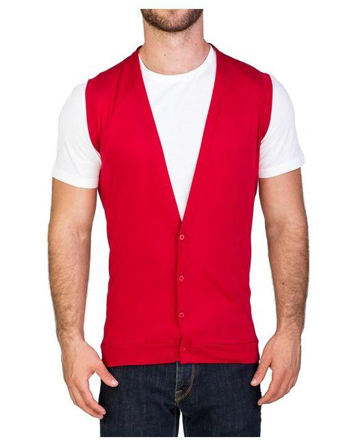 Prada | Men's Cotton Sweater Cardigan Vest Red for Men | Lyst