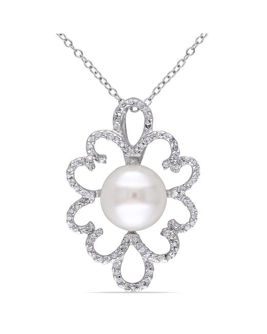 Catherine Malandrino - Metallic Freshwater Cultured Pearl And Cubic Zirconia Pendant W/chain - Lyst