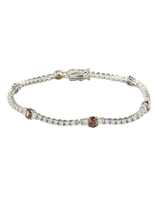 Suzy Levian - Sterling Silver Brown And White Cubic Zirconia Tennis Bracelet - Lyst