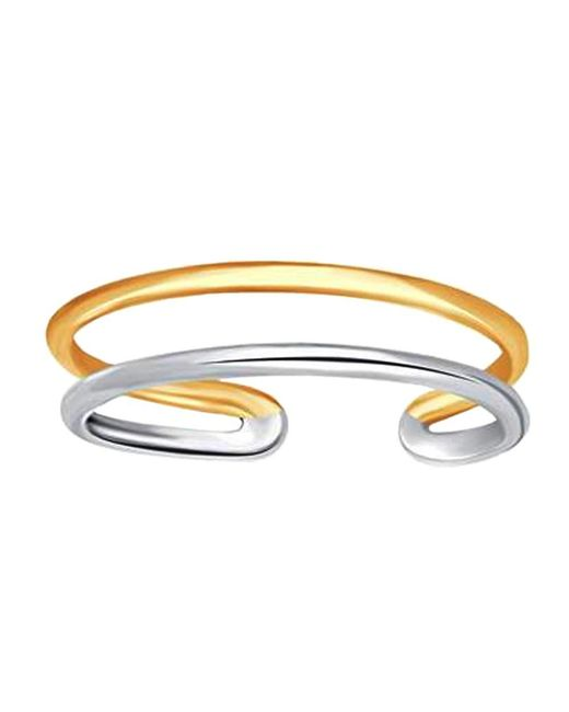 JewelryAffairs - 14k White And Yellow Gold Double Bar Cuff Style Adjustable Toe Ring - Lyst