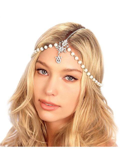 Kristin Perry   Metallic Draping Pearls Chain Headpiece   Lyst