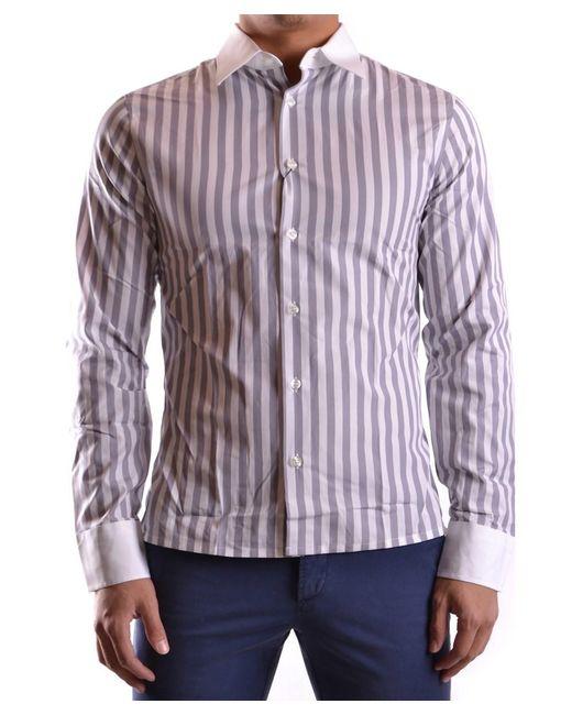 Dirk Bikkembergs - Men's Mcbi097011o White/grey Cotton Shirt for Men - Lyst