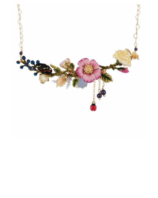 Les Nereides | Oriental Rose Multi Pink And Yellow Flowers On A Leafy Branch Short Necklace | Lyst