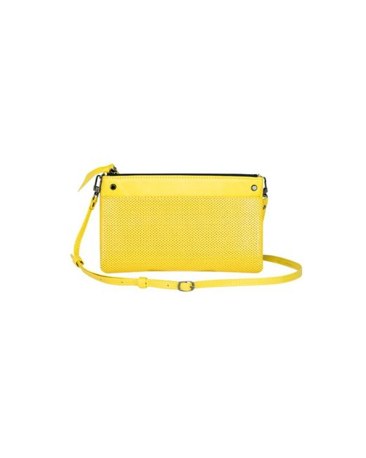 Mofe | Yellow Sonder Convertible Crossbody-bifold Wallet-clutch With Adjustable Strap In Perforated Leather | Lyst
