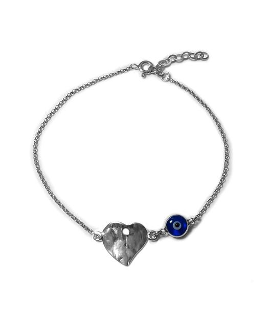"""JewelryAffairs - Metallic Hammered Heart Double Sided Evil Eye Adjustable Bracelet Sterling Silver, 7"""" To 8.5 for Men - Lyst"""