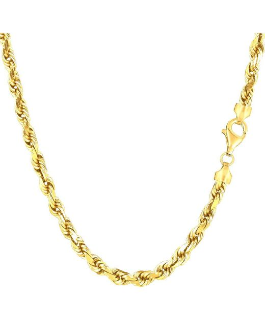 JewelryAffairs | 14k Yellow Gold Solid Diamond Cut Royal Rope Chain Necklace, 4.0mm, 18 Inch | Lyst