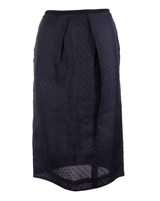 Valentino - Women's Black 100% Silk Dotted Mid Skirt - Lyst