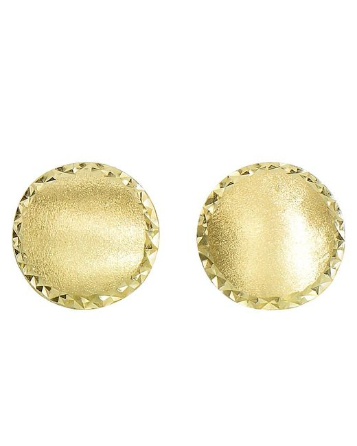 JewelryAffairs | 14k Yellow Gold Satin With Diamond Cut Edges Stud Earrings, 11mm | Lyst