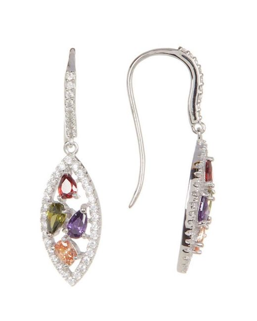 Adornia - Metallic Sterling Silver And Crystal Marquis Shaped Multi Color Earrings - Lyst