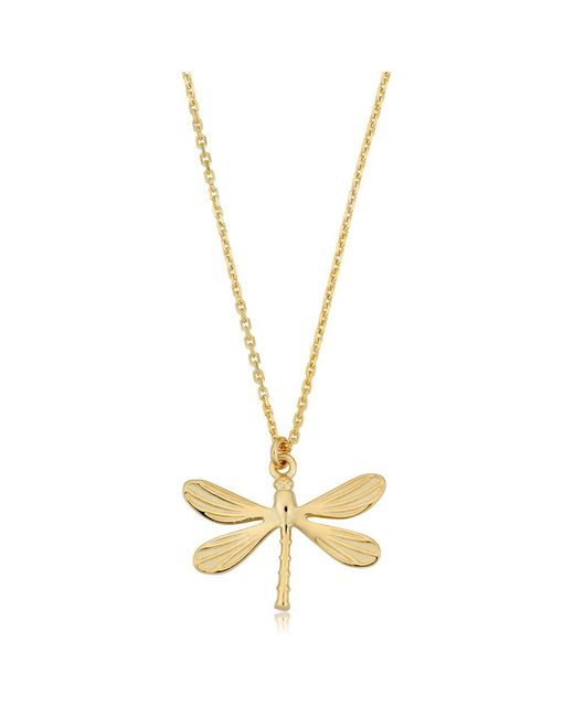 "JewelryAffairs | 14k Yellow Gold Dragonfly Pendant On 18"" Necklace 