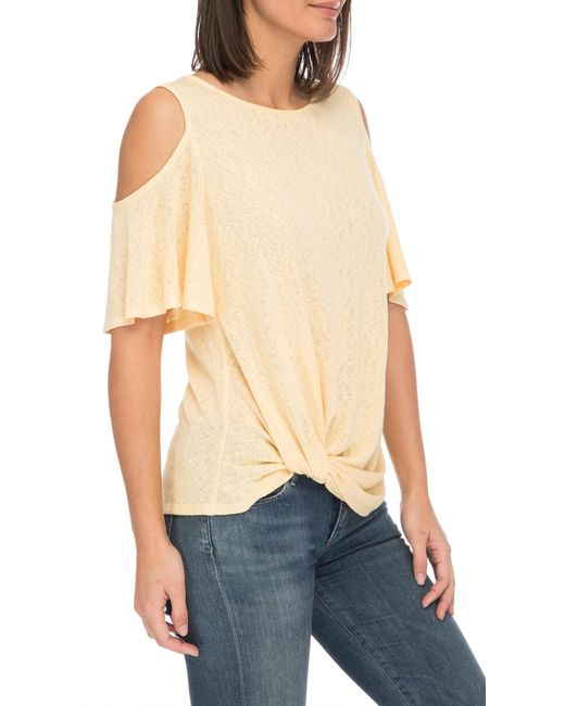 db7a222b4f3ed1 ... Bobeau - Natural Alison Side Knot Cold Shoulder Tee - Lyst ...