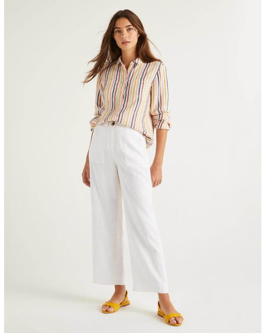Boden White Filey Seamed Pocket Pants