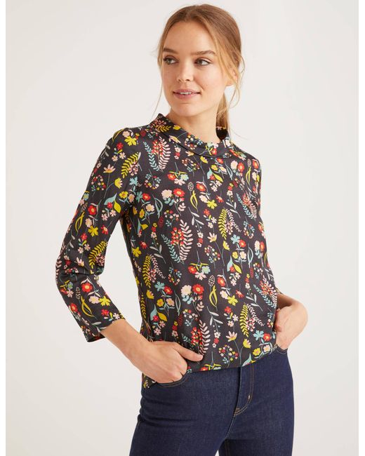 Boden Black Lily Medallion Print Top