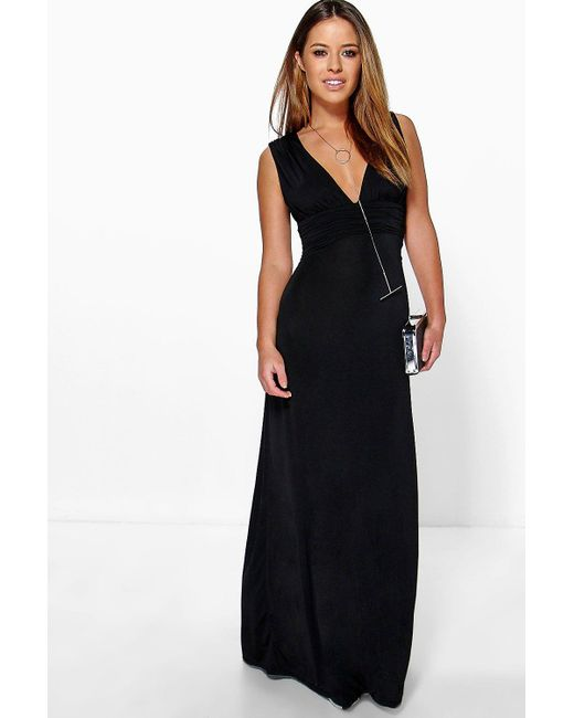 Boohoo | Black Petite Donna Plunge Ruched Maxi Dress | Lyst