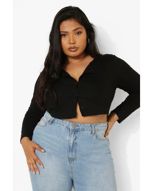 Boohoo Black Plus Button Down Long Sleeve Crop Top