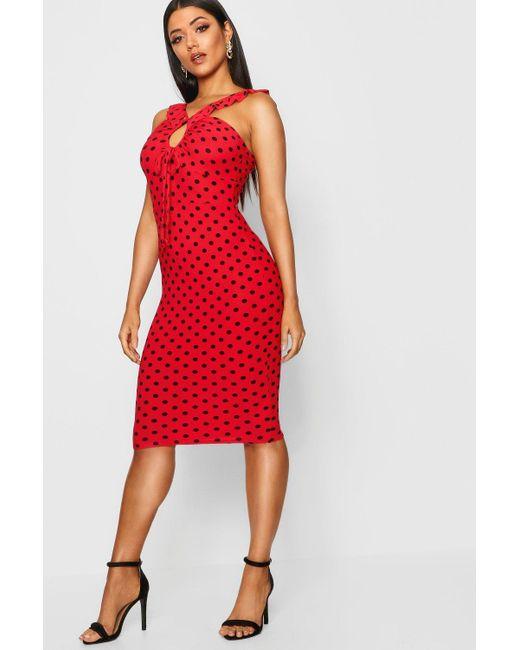 Boohoo - Red Polka Dot Frill Detail Midi Dress - Lyst ... c9ca9a10f