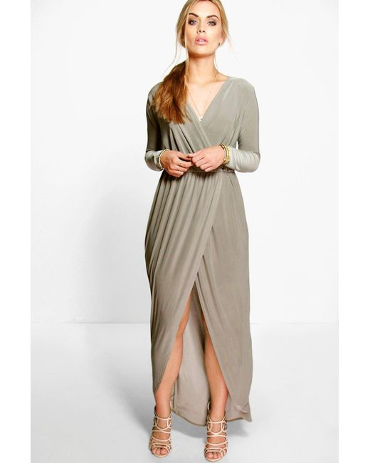 4ac3dcf3277 Boohoo - Natural Plus Slinky Wrap Front Maxi Dress - Lyst ...