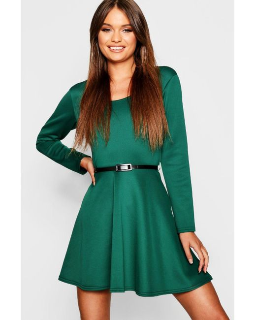 Boohoo Green Long Sleeve Belted Skater Dress