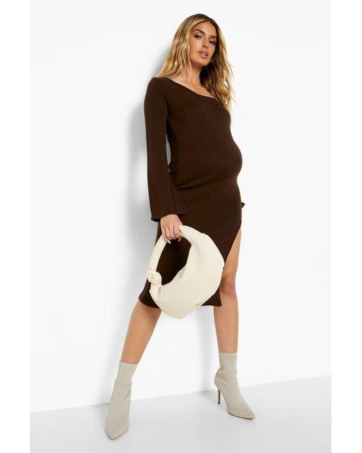 Maternity Knit Side Split Midi Dress Boohoo de color Brown