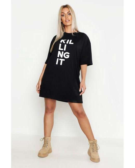 a68e2bd0fe Boohoo - Black Plus Killing It Oversized T-shirt Dress - Lyst ...