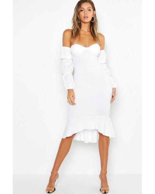 5be61887d235 Boohoo - White Off The Shoulder Sleeve Detail Frill Hem Midi Dress - Lyst  ...