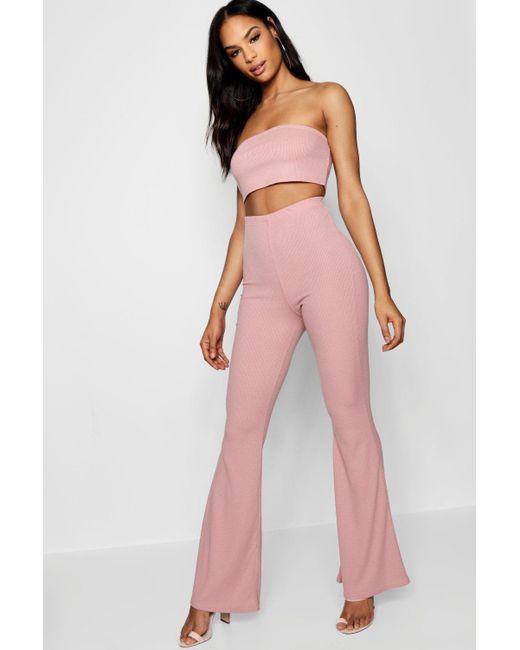 3ae9ae3c154f Boohoo - Pink Basic Bandeau And Flared Pants Co-ord - Lyst ...