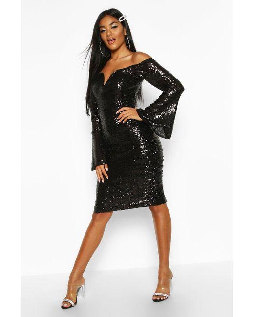 Boohoo Black Womens Sequin Flare Sleeve Rouched Side Midi Dress