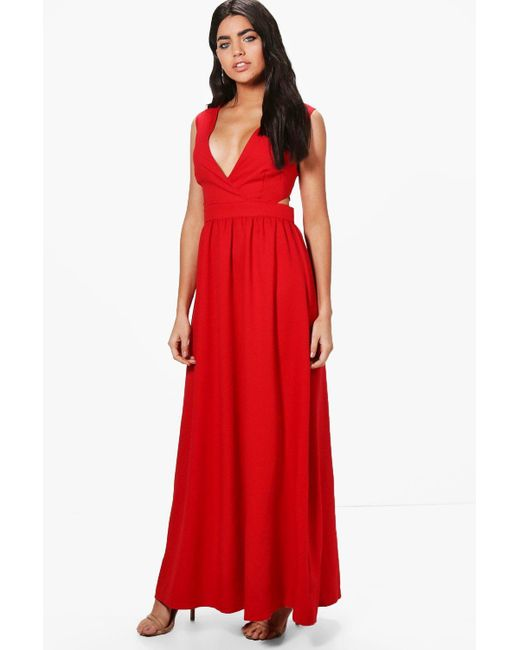 Boohoo   Red Louise Lace Up Back Maxi Dress   Lyst