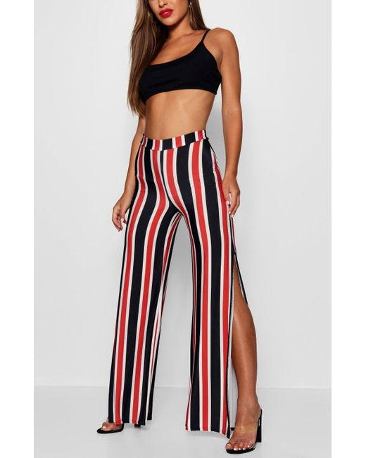 Footaction Online Boohoo Petite Charlotte Stripe Split Leg Wide Leg Trouser Sale Wide Range Of EqsUX