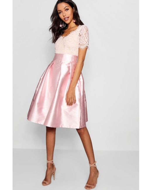 Boohoo - Pink Boutique Eyelash Lace Skater Dress - Lyst
