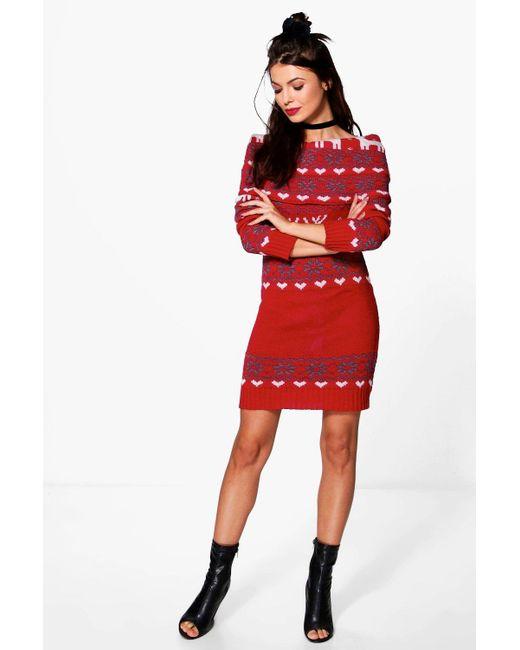 Boohoo Isabelle Reindeer Fairisle Christmas Jumper Dress in Red | Lyst