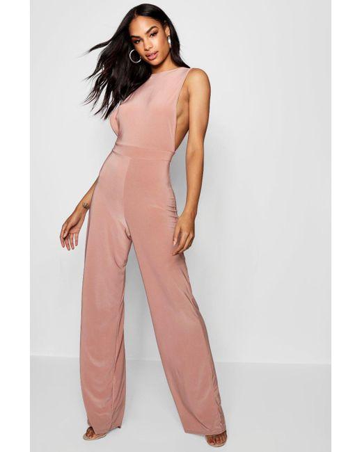 09e0c4fc8f24 Boohoo - Pink Side Boob Slinky Jumpsuit - Lyst ...