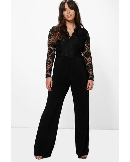 0a6117613aa Boohoo - Black Plus Long Sleeve Lace Top Slinky Jumpsuit - Lyst ...