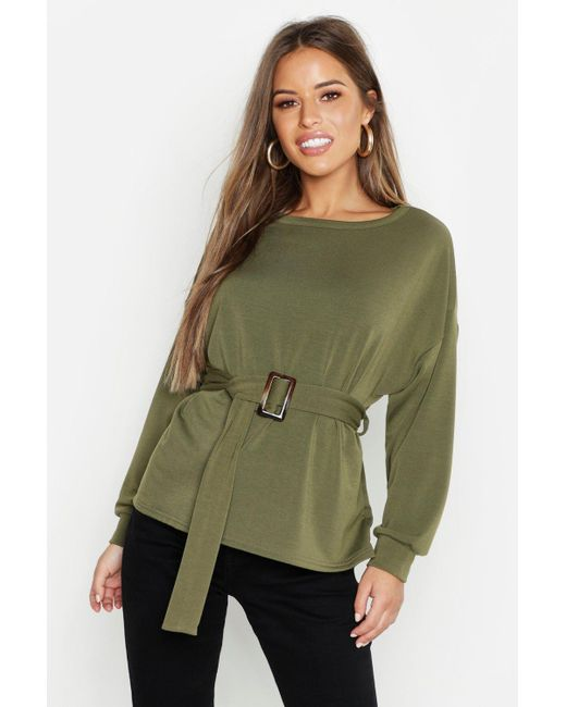 Boohoo - Green Petite Belted Sweat Top - Lyst