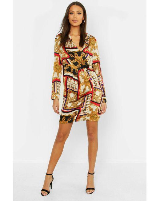 88fd42b41a292 Boohoo - Orange Tall Satin Scarf Print Shirt Dress - Lyst ...