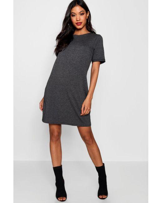 Boohoo - Gray Turn Back Cuff T-shirt Dress - Lyst