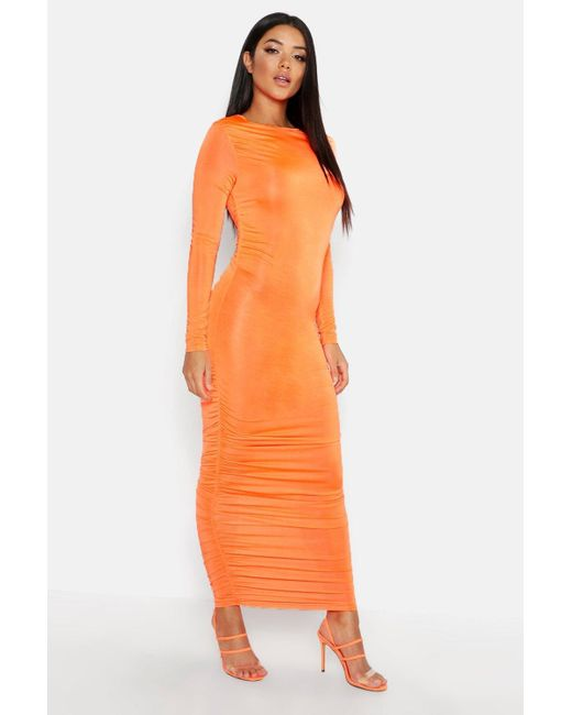 565af6932eb Boohoo - Orange Ruched Side Midi Dress - Lyst ...