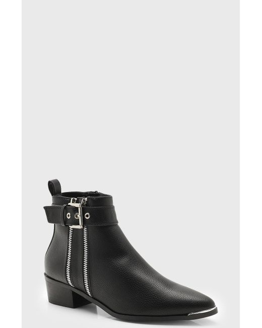a35ee60a1aea Boohoo - Black Double Zip Chelsea Ankle Boots - Lyst ...