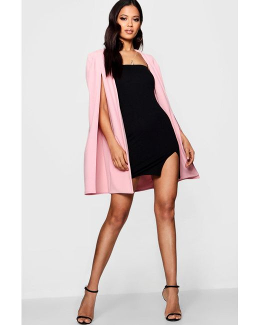 Boohoo - Pink Longline Tailored Crepe Cape - Lyst