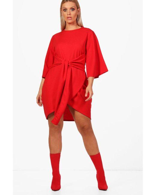 0b5a84e694b9 Boohoo - Red Plus Kimono Sleeve Tie Waist Wrap Dress - Lyst ...