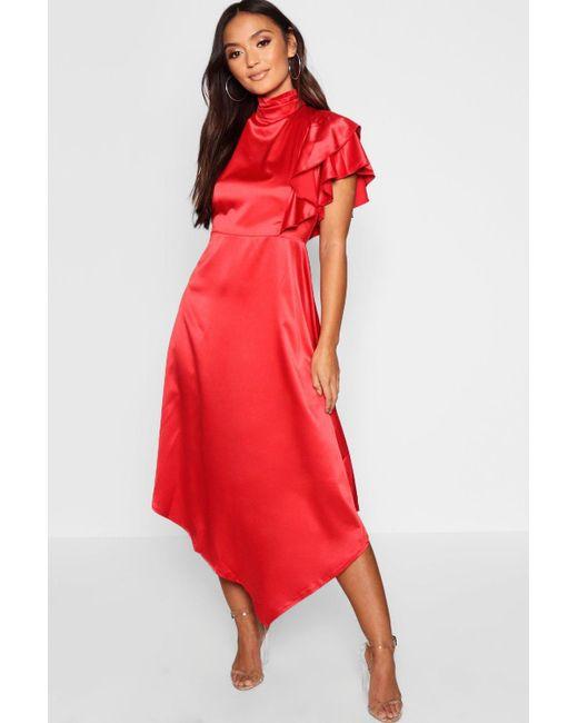 b4487a96db94 Boohoo - Red Petite Satin Asymmetric Midi Dress - Lyst ...