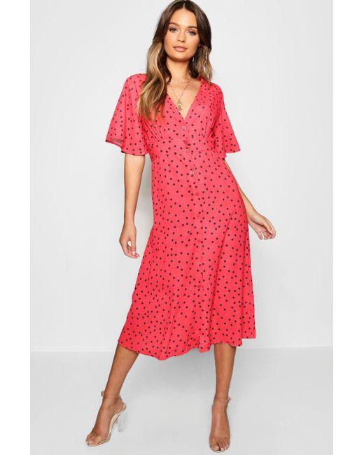018a075ee325c Boohoo - Red Button Through Polka Dot Midi Dress - Lyst ...