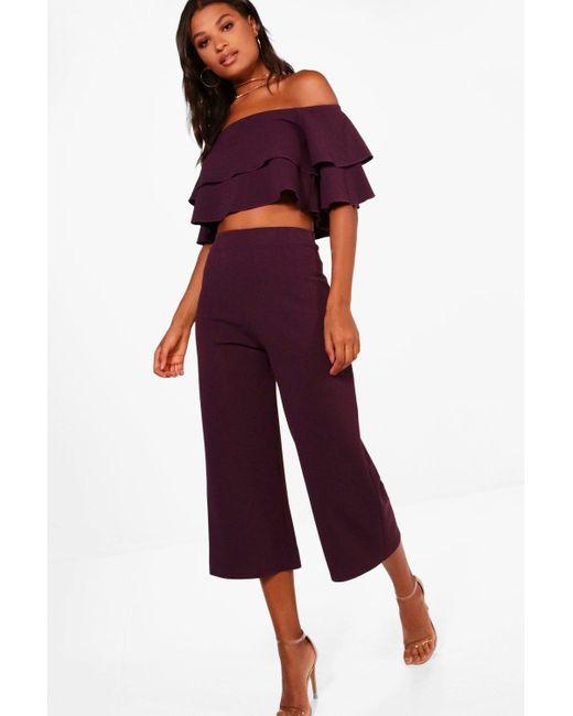 Boohoo Purple Double Bandeau Top And Culotte Co-ord Set